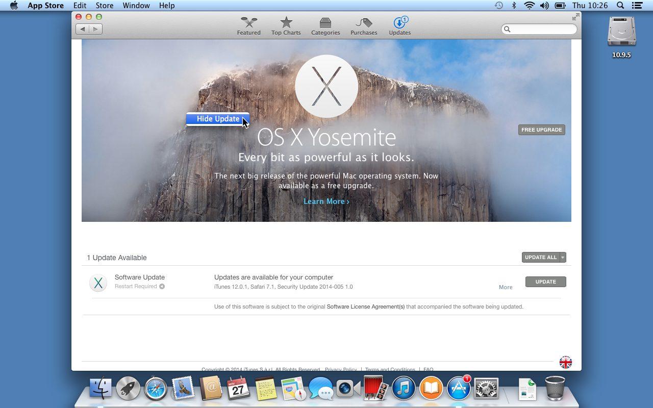 Disable Yosemite Update