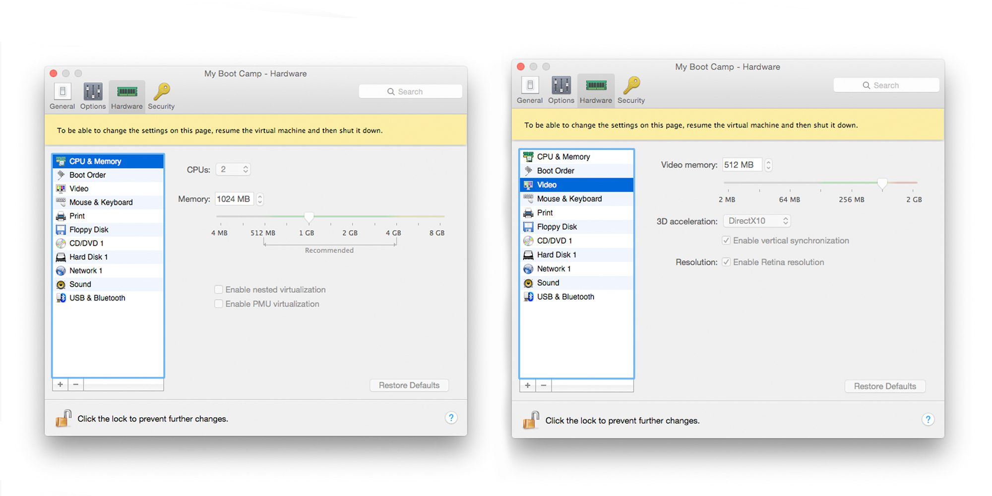 CPU GPU and RAM allocation in Parallels