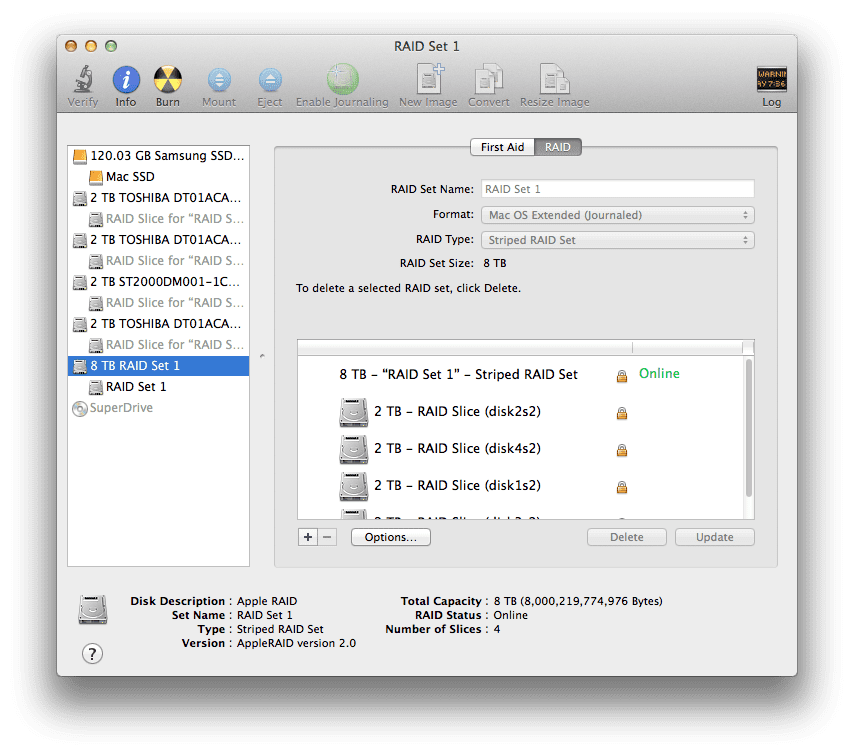 Striped RAID on Mac OS X 4 drives
