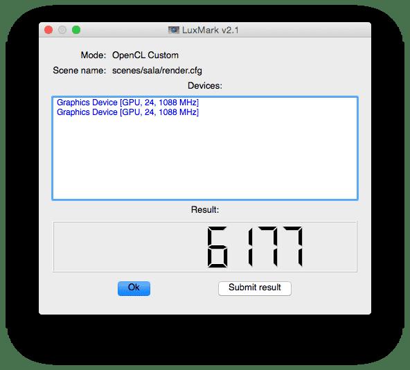 2x Nvidia GTX TITAN X in Mac Pro LuxMark OpenCL Benchmark