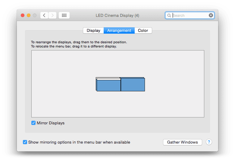 2 seperate displays that are both mirrored OS X