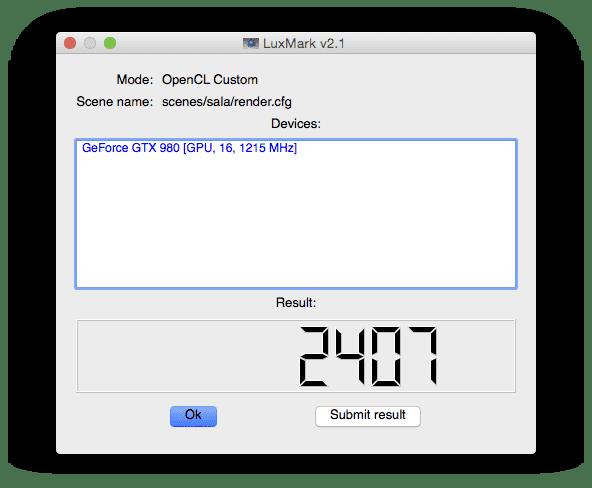 Nvidia GTX 980 with Mac EFI in Mac Pro running LuxMark Sala