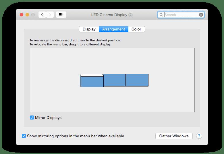 Main display mirrored and 3 seperate monitors OS X
