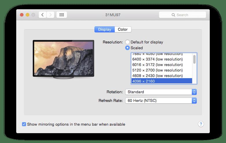4K OS X 60 HZ