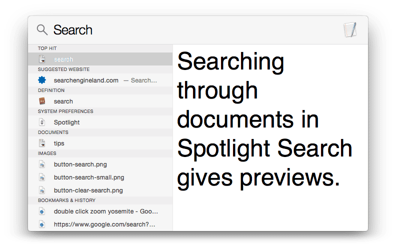 Preview Documents in Spotlight