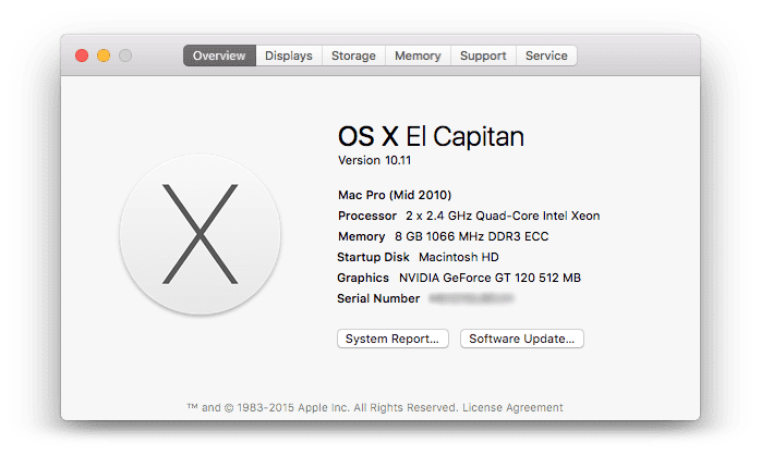 Mac Pro 5,1 running OSX 10 11 El Capitan