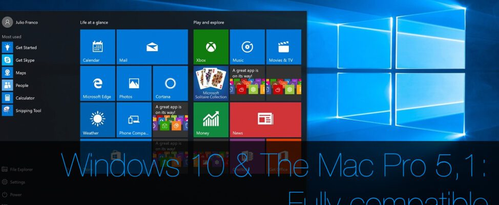 Installing Windows 10 on the Mac Pro 5,1