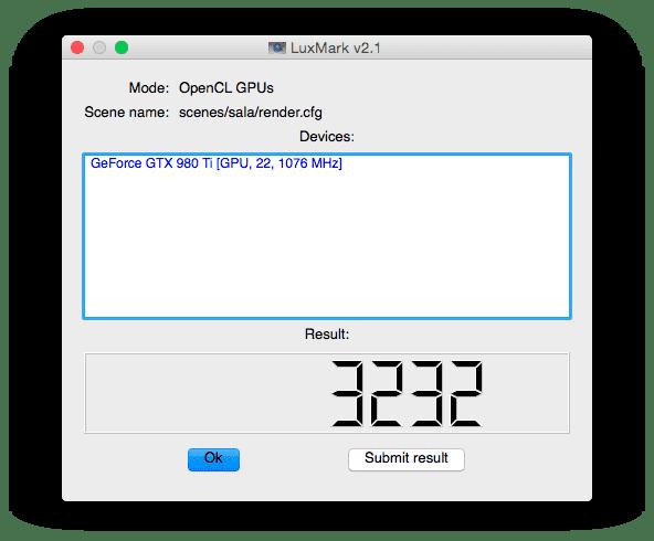 vidia GTX 980 Ti Luxmark Sala in Mac Pro Benchmark