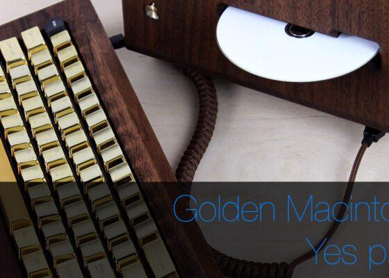 Custom gold & wood Apple Macintosh