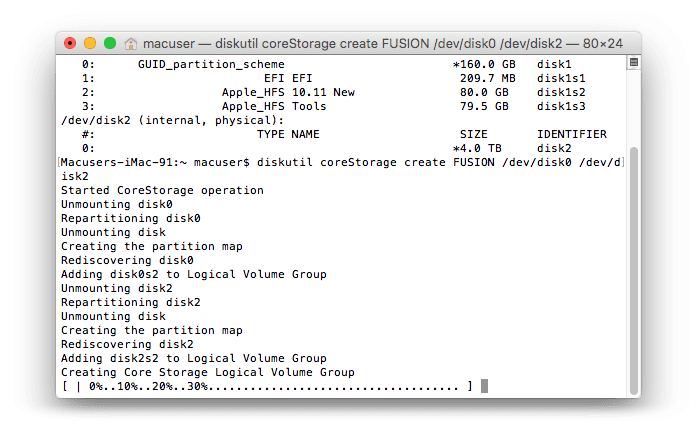 Terminal Log for Fusion Drive 2