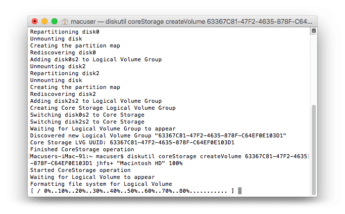 Terminal Log for Fusion Drive 5
