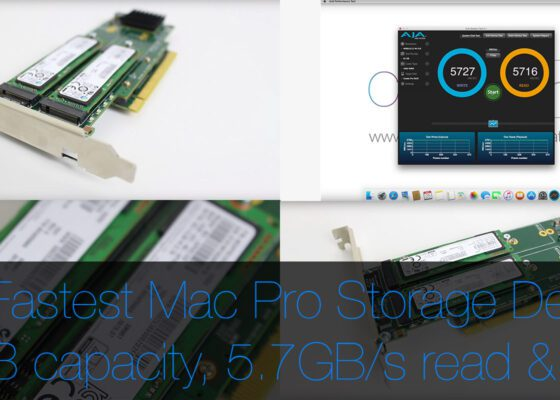 The fastest storage option for the mac pro 5,1 2TB of flash storage with 5700MBs read and write speeds