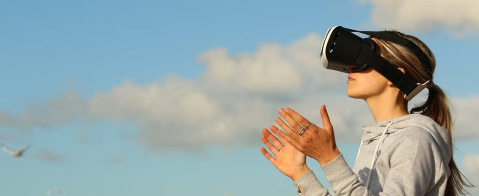A woman enjoying augmented reality