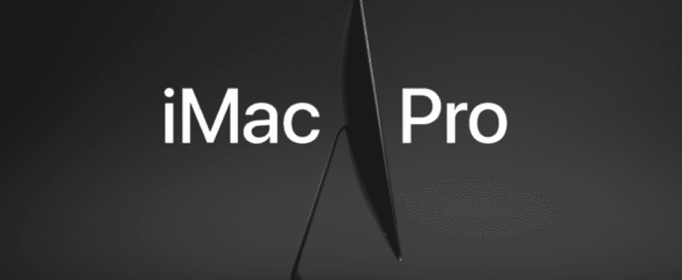 The iMac Pro advert, complete with branding