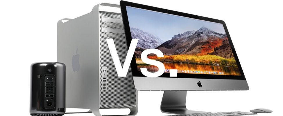 iMac Pro, Mac Pro 5,1 screen and keyboard on a table