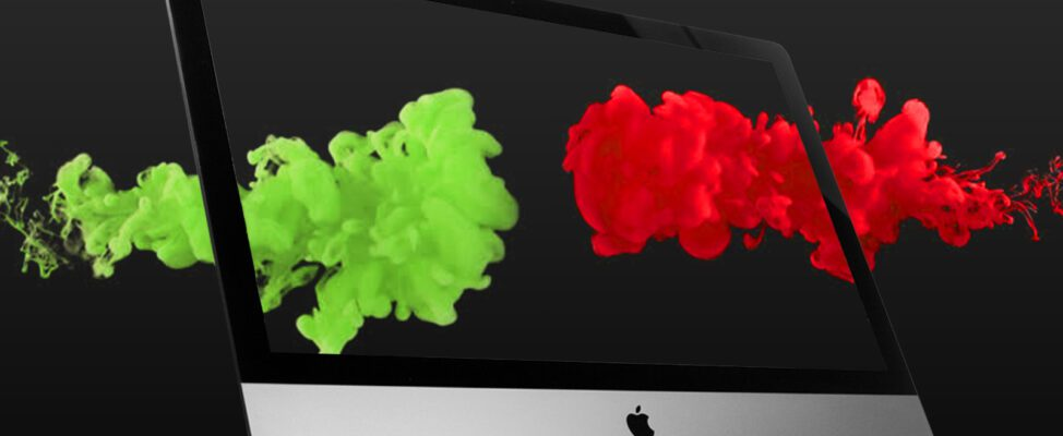 An iMac Screen with cloud colours of green and red on it